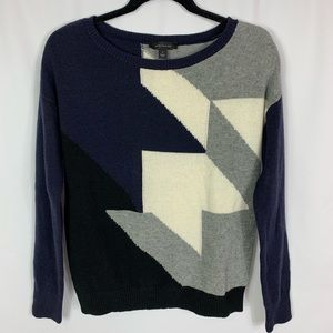 Ann Taylor Color Block Wool Pullover Sweater Sz M